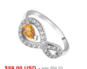 Infinity Ring Citrine Ring Friendship Ring Teardrop Ring November Birthstone Ring Sisters Ring Infinity Engagement Ring Mother Daughter Ring
