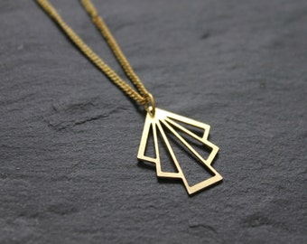Geometric necklace, Minimalist Necklace, Boho Necklace, Brass necklace, Gold Triangle Necklace, Gold Necklace for women, Bohemian necklace
