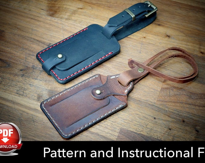 Luggage Tag Pattern - Leather DIY - Pdf Download - Luggage Tag Template