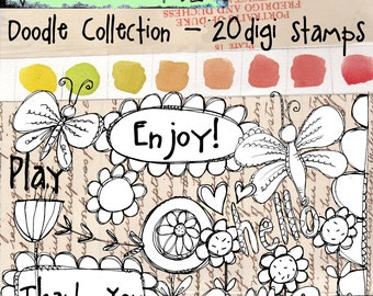 Doodle Collection - 20 digi stamps to create coloring cards and tags