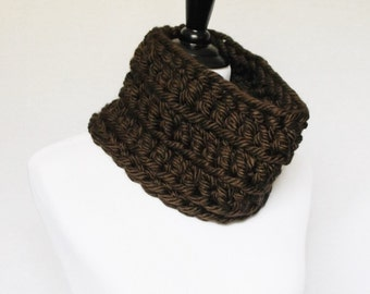 Brown Crochet Cowl, Chunky Neck Warmer, Short Infinity Scarf, Crochet Collar Scarf - Chocolate Brown, Dark Brown