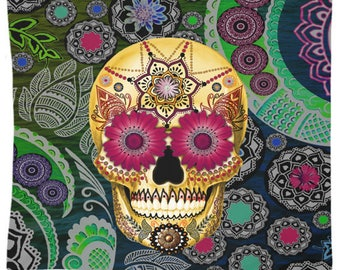 Colorful Sugar Skull Tapestry - Sugar Skull Paisley Garden -l Day of the Dead Artwork on Lightweight Polyester Fabric