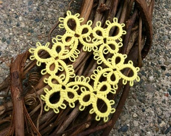 Yellow Tatted Lace Christmas Ornament - READY TO SHIP - Hanging Snowflake Gift - Winter Decorations - Handmade Decor - Holiday Appliques -