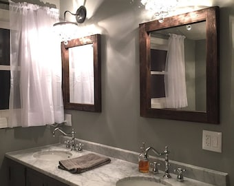 Mirror Set   Double Sink Bathroom 2 Reclaimed Wood Mirrors Size 24 X 28    Rustic