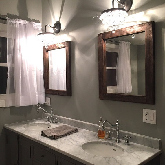 mirror set sink bathroom 2 reclaimed wood mirrors 20112