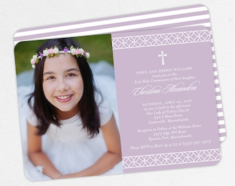 Photo First Communion Invitations, Purple First Communion Invitations, Modern Communion invitations, Girl First Communion Invitations, PDF