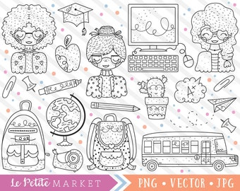 Cute School Clipart Set Teacher Clip Art Images Digital Stamps Bus Backpack Classroom Back To Graphics PNG