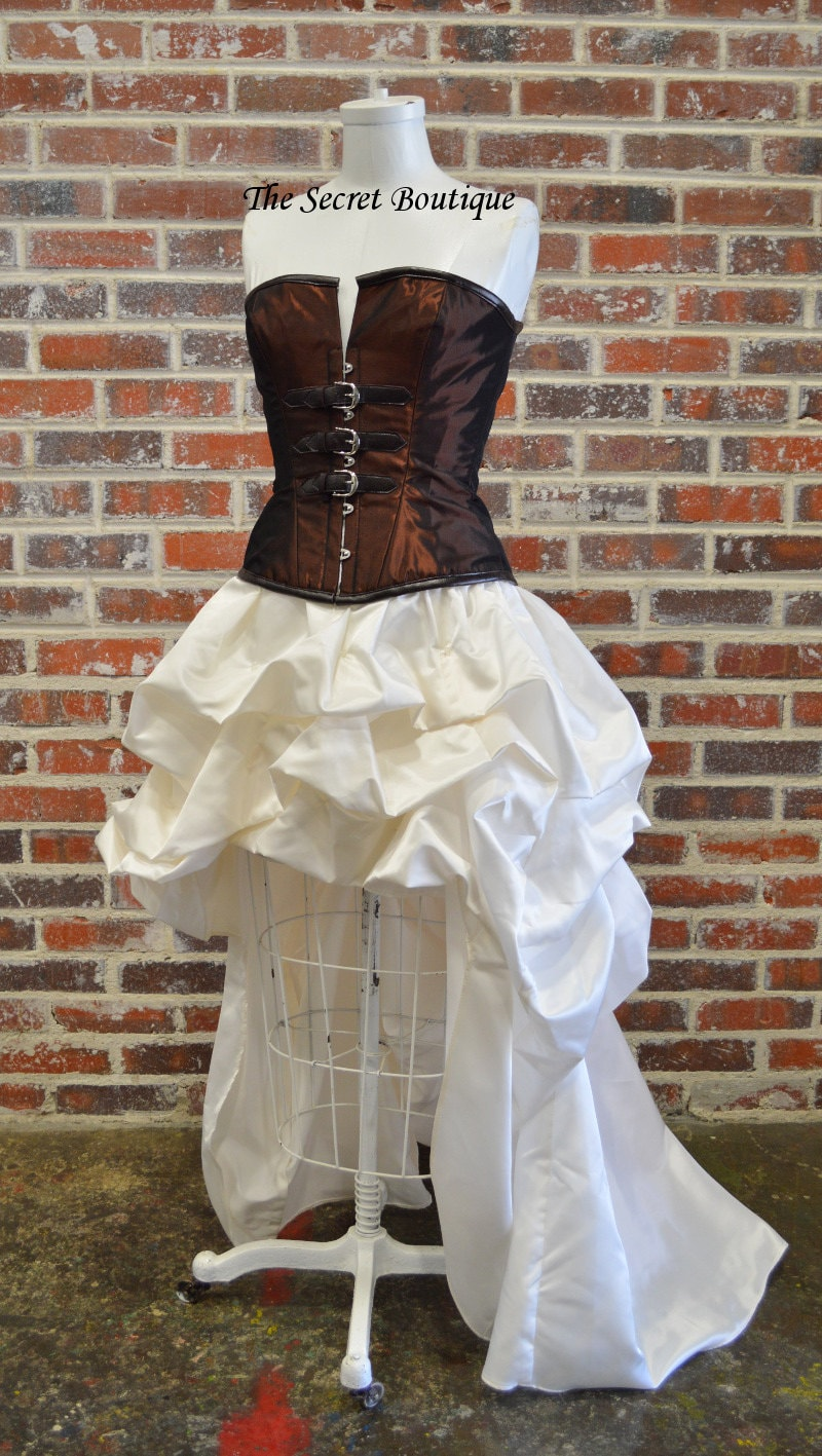 Steampunk Skirt Bridal Hi Low Bustle