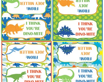 Dinosaur Valentine's Day Treat Bag Toppers