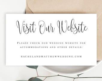 Wedding website card insert template Visit our website card template Rustic website insert Details card insert Invitation insert cards #vm41