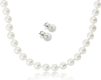 White Freshwater Cultured Pearl Necklace and Earring Set - High Luster, 925 Sterling Silver