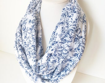 Navy Blue Scarf, Vintage Inspired Scarf, Summer infinity scarf, Floral Scarfs, White Printed Scarf, Circle Scarf, Boho Infinity Scarf