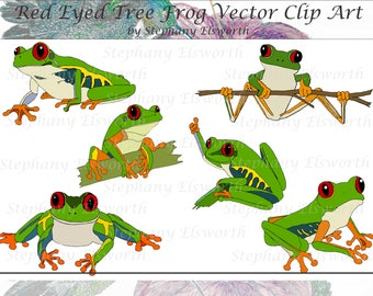 Red Eyed Tree Frog Vector Clip Art