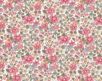 Fat eighth Aloha Betsy A Liberty print, coral and sage green tropical floral Liberty of London tana lawn