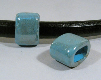 Regaliz 15mm Turquoise-Gray Ceramic Beads - CR15-9 - Choose Your Quantity