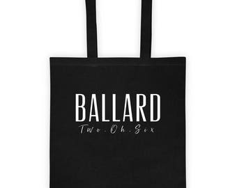 Ballard, Seattle, Area Code, Washington State, Farmer's Market Bag, Canvas Tote bag