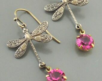 Art Deco Earrings - Vintage Earrings - Dragonfly Earrings - Pink Rhinestone Earrings - Brass Earrings - handmade jewelry