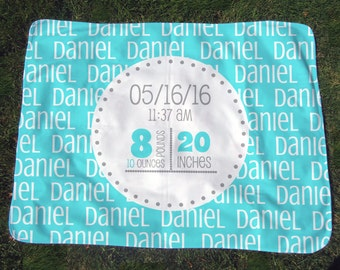 Personalized Birth Stats Blanket - Boys' Birth Announcement Blanket w/ Baby Stats - Custom Receiving Blanket - Baby Photo Prop - Baby Gift