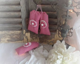 Bag of lavender shabby chic pink and white set of 3