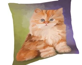 Red Persian Cat Throw Pillow