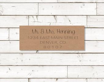 Return address label - custom- 2 5/8 x 1 inch rectangular, brown kraft label, sticker, wedding announcements - SET OF 30