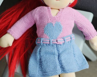 "Waldorf Doll Clothing Set, Hand Knitted clothing set for 16""-17"" Waldorf Doll, Sweater with a heart, Skirt with belt and a flower headband"