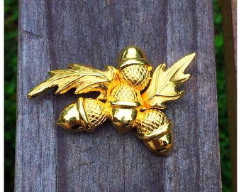 Bright Shiny Gold Acorn Pin, Monet Acorn Brooch, Monet Autumn Jewelry