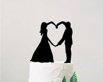 Wedding cake topper, bride and groom silhouette, Heart cake topper