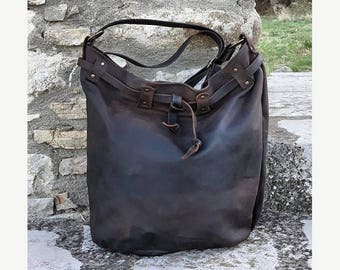 Suede brown tote bag / Leather zipper tote / Leather handbag