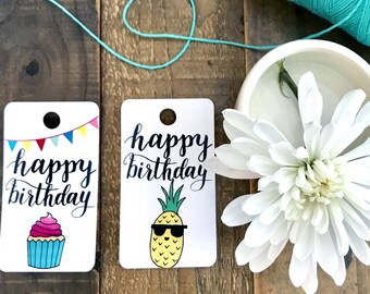HAPPY BIRTHDAY Hand lettered Gift Tags | Hang Tags