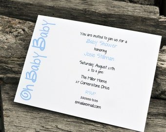 Baby Shower Invitation / Baby Boy Shower Invite / Baby Shower Invite /  Personalized Party Invitation / Boys Shower / Baby Shower