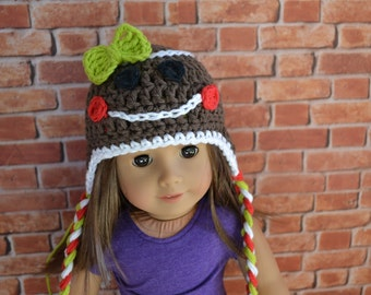 18 inch Doll Clothes - Crocheted Beanie with Ear Flaps - Gingerbread Girl - Holiday Style - MADE TO ORDER - fit American Girl