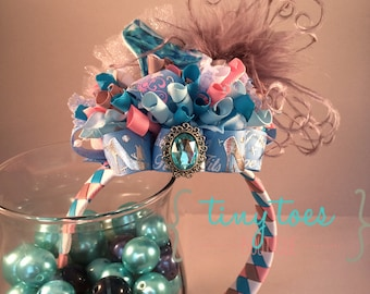 If The Shoe Fits Woven Headband Funky Loopy Bow