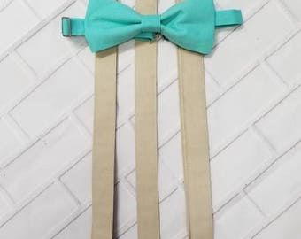 Beige and Aqua Blue Suspender and Bow Tie Set Free Shipping Offer Sizes Newborn to Adult Custom Options Available