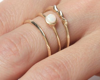 14k Opal Rising Tide Ring Set  | 14k Gold Ring Set |  Australian Opal