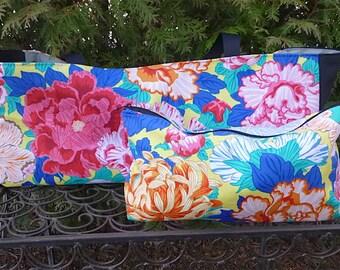 Mah Jongg rack tote and matching flat bottom bag for tiles, Garden for Hakusai, The Tote-ster and large Zini