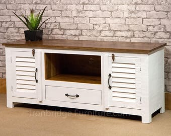 White Farrow & Ball Painted Fiddes Wax Polish Finish Vintage Style Solid Rustic Mango wood TV cabinet with 1 drawer and 2 doors - SI-518