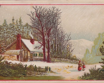 Large Antique Victorian Trade Card WINTER Cabin in Snow A & P Atlantic Pacific