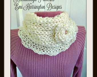 Crochet Pattern neckwarmer collar scarf cowl #1003. Romantic Neckwarmer, Beginner level, crochet for women and teens,