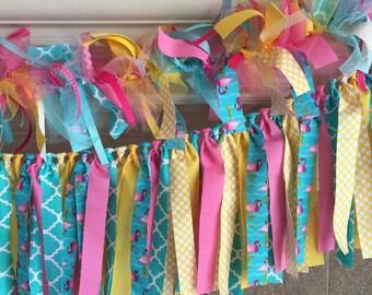 Flamingo Party Decorations- Flamingo Fabric Banner - Flamingo Party - Spring Fabric Banner - Spring Party Decor - Flamingo Decor
