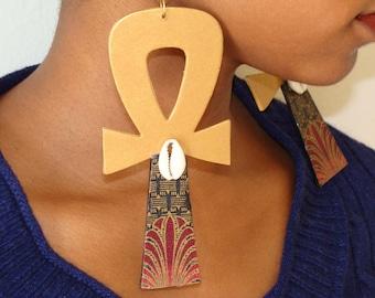 Ankh Earrings w/Egyptian Fabric