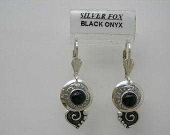 See-Thru Series- Silver and Stone Earrings w\/drop (Black Onyx)