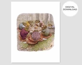 "Woodland Nursery Printable, Beatrix Potter Wall Art (Vintage Book Download, Boys Print, Girls Room Decor, Frog Artwork) ""Toad Tea Party"""