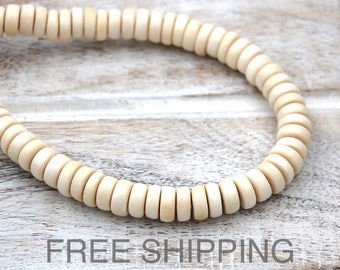 White Wood Rondelle 8x5mm Beads FREE SHIPPING