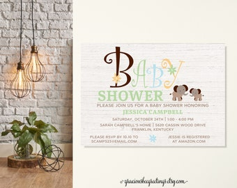 Elephant Baby Shower Invite, Gender Neutral Baby Elephant Shower Invite, Safari Baby Shower Invite, Rustic Baby Shower Invite, B is for Baby