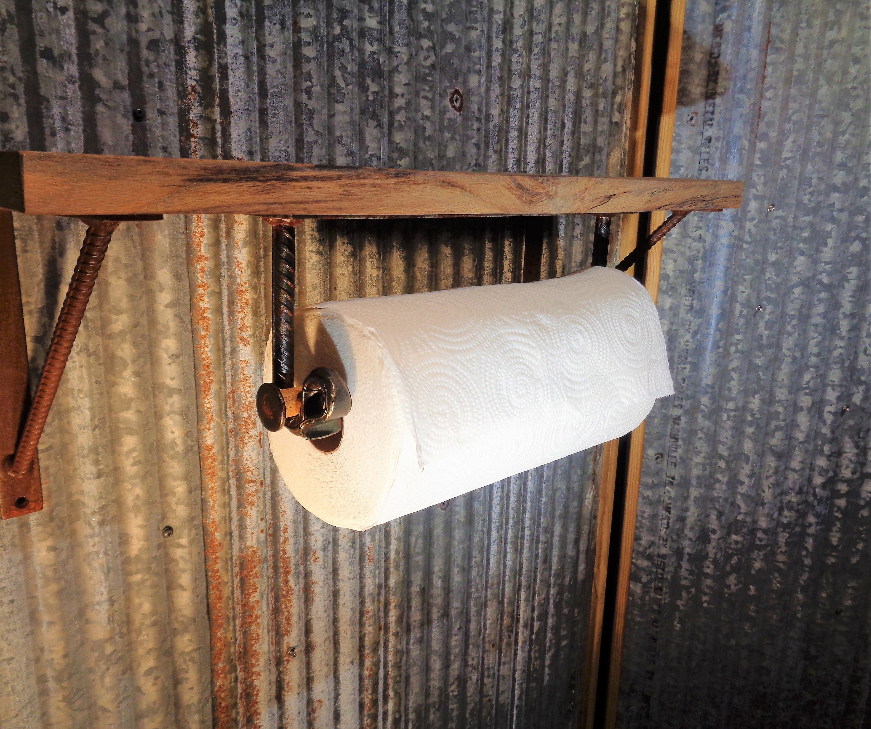 Rustic Farmhouse Handcrafted Forged ReBar Under Cabinet Paper Towel Holder,  Rack, Old Industrial Steel Look, For Cabin, Bar, Kitchen Decor