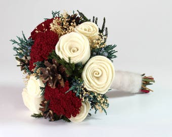 Christmas Wedding Bouquet, Winter Bride, Felt Rose Bouquet, Bridal Bouquet, Alternative Bouquet, Winter Woodland Wedding