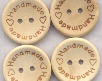 Handmade Buttons Decorated Wooden Buttons 23mm (1 inch) Set of 8 /BT194