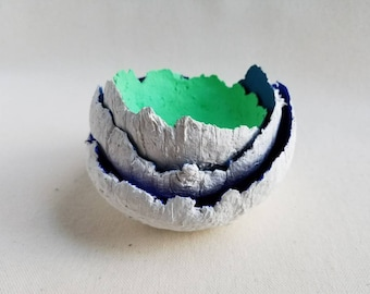 Mini paper clay bowl, 100% recycled paper bowl, mini seafoam green paper clay trinket bowl, small seafoam catch all bowl, mini green bowl