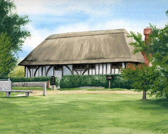 Alfriston Clergy House in Sussex, watercolour painting